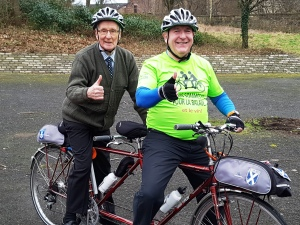 """Thumbs up and happy smiles from John and the """"old git"""" - mission accomplished!"""